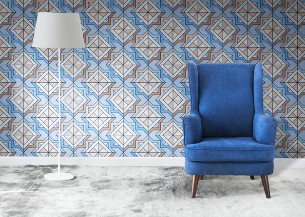 Blue Chair, Wallpaper, Lamp